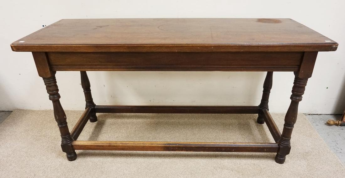 ANTIQUE WALNUT LIBRARY TABLE WITH TURNED LEGS. 60 X 24