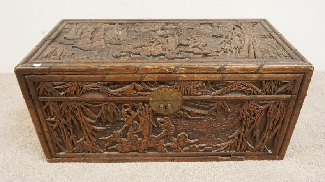 CARVED ASIAN BOX. 35 X 17 1/2 X 16 INCHES HIGH. DEEP