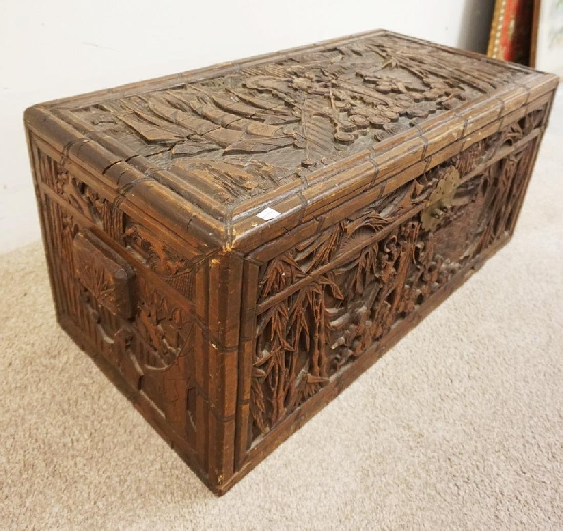 CARVED ASIAN BOX. 35 X 17 1/2 X 16 INCHES HIGH. DEEP - 3