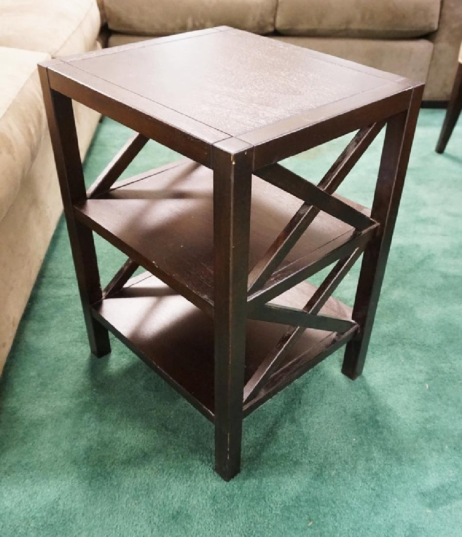 CRATE & BARREL 2 TIER STAND. 17 X 15 AND 23 1/4 INCHES