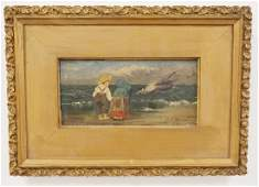 ANTIQUE OIL PAINTING ON BOARD OF A SHORE SCENE