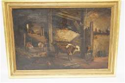 G SCHNEIDER OIL PAINTING ON CANVAS OF THE INTERIOR OF
