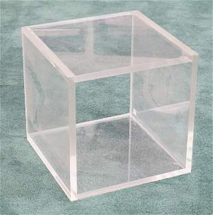 MID CENTURY MODERN LUCITE / ACRYLIC CUBE WITH 2 OPEN