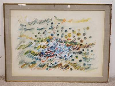 MID CENTURY MODERN WATERCOLOR PAINTING. SIGNED LOWER