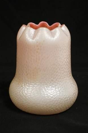 KRALIK ART GLASS VASE. MARTELE PATTERN WITH A RUFLED