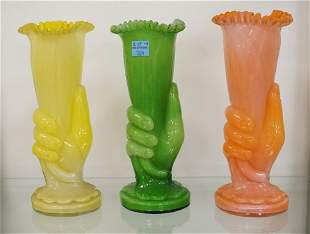 LOT OF 3 MOLD BLOWN GLASS VASES DEPICTING HANDS HOLDIN