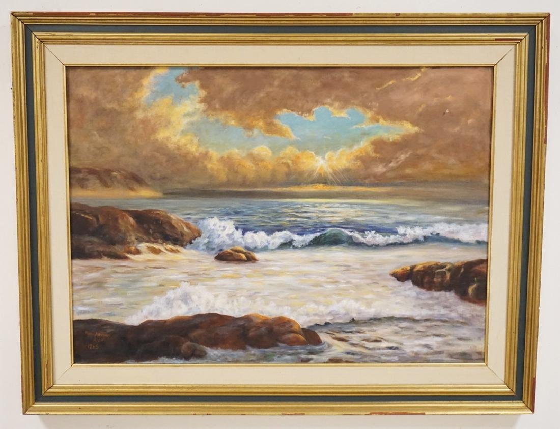MARY ADRIAN OIL PAINTING ON CANVAS OF A ROCKY SHORELINE