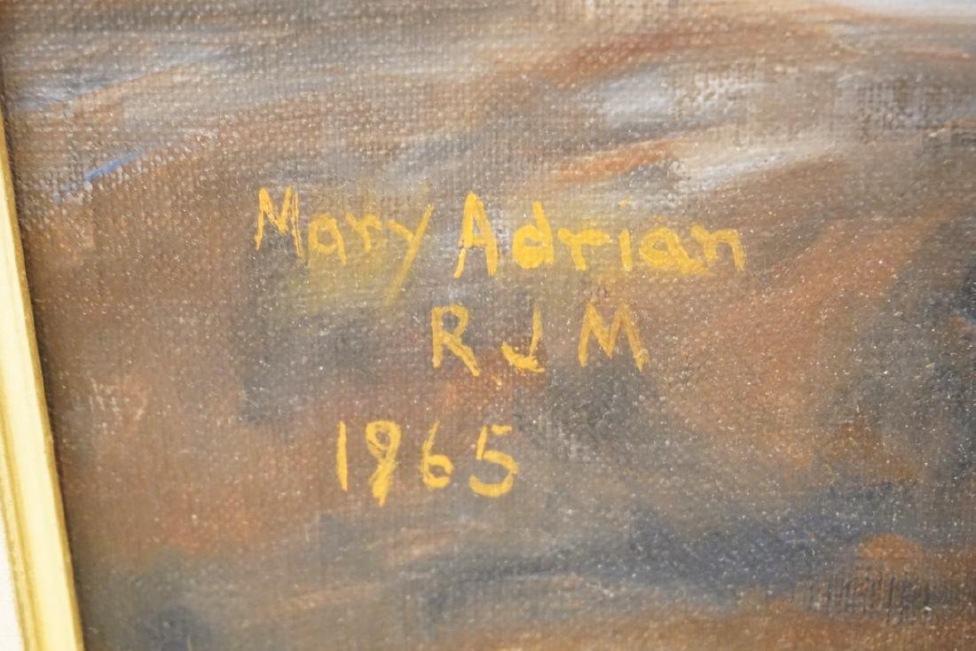 MARY ADRIAN OIL PAINTING ON CANVAS OF A ROCKY SHORELINE - 2