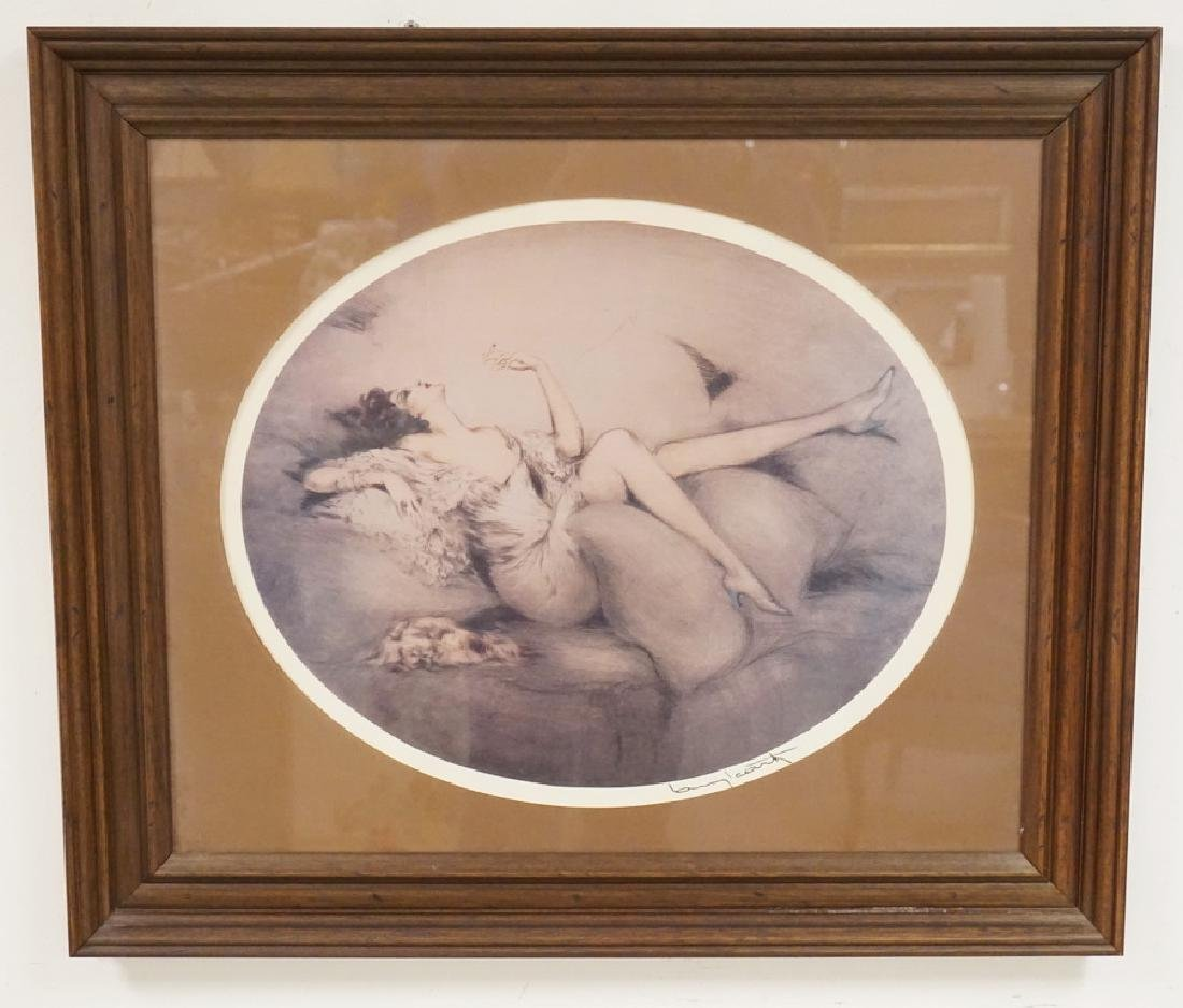 ICART PRINT OF A RECLINING WOMAN SMOKING A CIGARETTE.