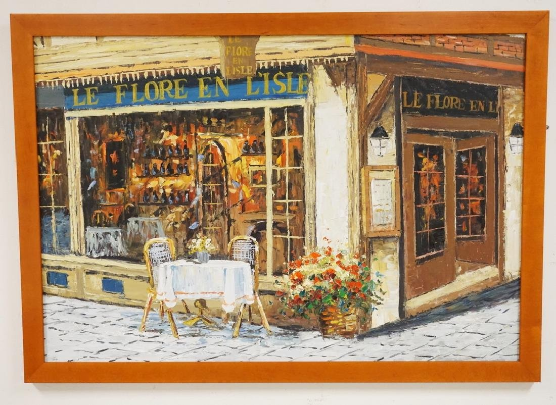 OIL PAINTING ON CANVAS OF *LE FLORE EN L'ISLE* A FRENCH