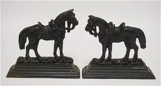 PAIR OF CAST IRON HORSE BOOKENDS, 8 INCHES HIGH. 8 3/4