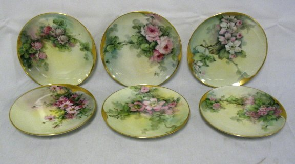 1004: SET OF 6 HAVILAND LIMOGES HAND PAINTED PLATES