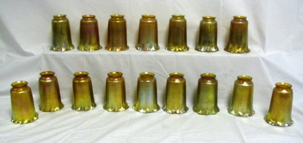1314: SET OF 16 GOLD LUSTER LC TIFFANY SHADES