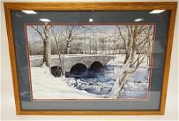 DAN CAMPANELLI PRINT OF A STONE BRIDGE IN THE WINTER