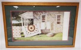 DAN CAMPANELLI PRINT OF A STONE HOUSE WITH QUILTS