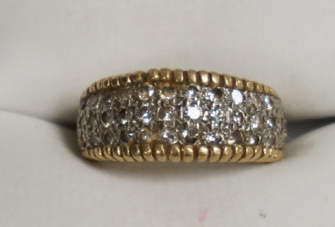 14K WHITE & YELLOW GOLD RING WITH 37 SMALL ROUND CUT
