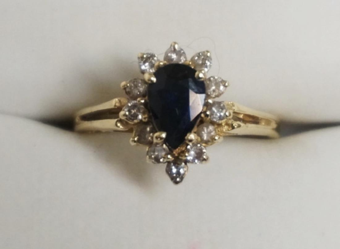 14K GOLD SAPPHIRE & DIAMOND RING.SAPPHIRE MEASURING