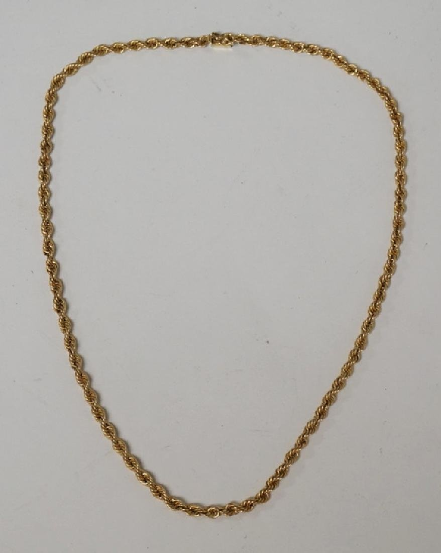 14K GOLD ROPE NECKLACE. 3.5 DWT. 16 INCHES LONG.