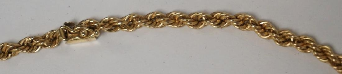 14K GOLD ROPE NECKLACE. 3.5 DWT. 16 INCHES LONG. - 2