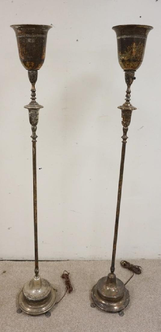 PAIR OF SILVERPLATED TORCHIERE LAMPS.