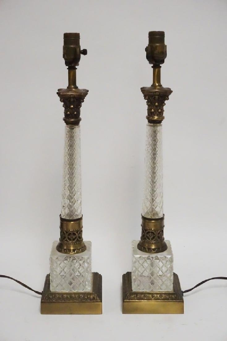 PAIR OF CUT CRYSTAL AND BRASS LAMPS