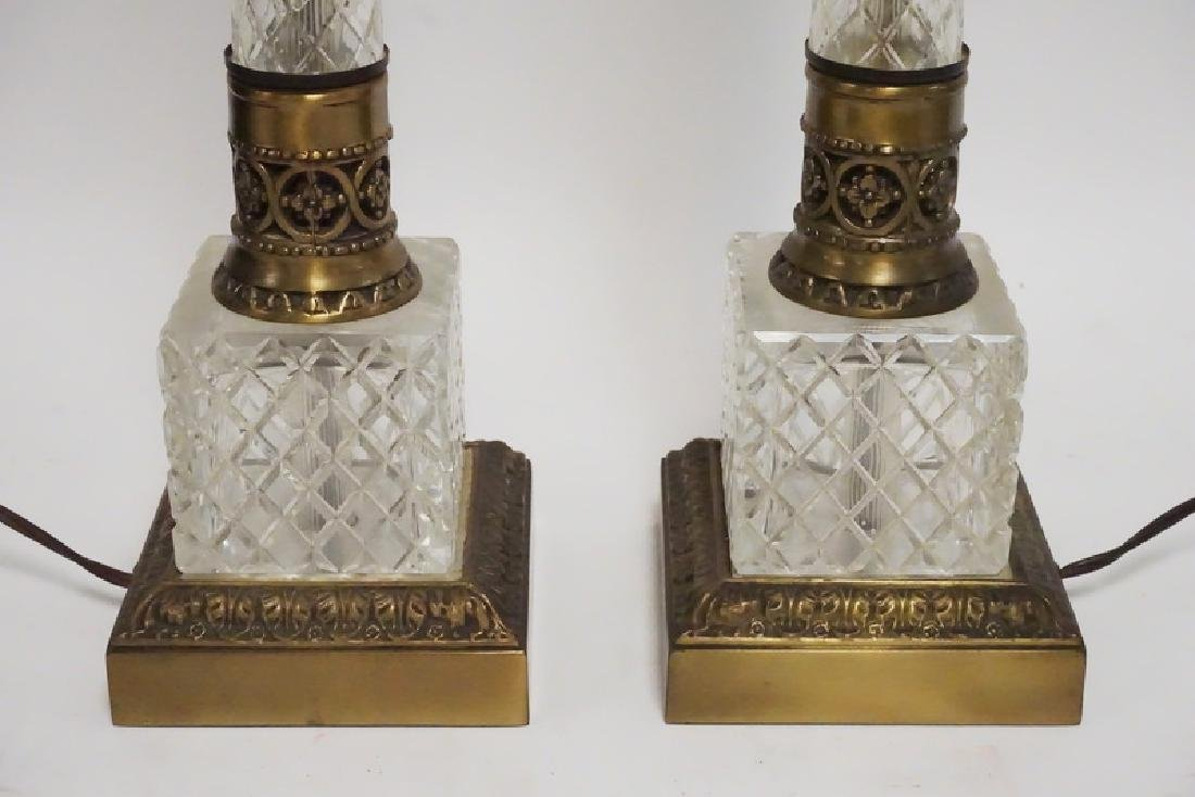 PAIR OF CUT CRYSTAL AND BRASS LAMPS - 2