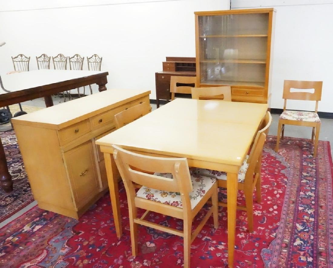 9 PIECE MID CENTURY MODERN DINING ROOM SET BY STANLEY