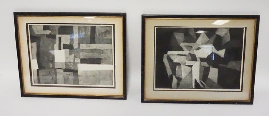 LOT OF 2 PENCIL SIGNED MODERN ABSTRACT  PRINTS. EACH