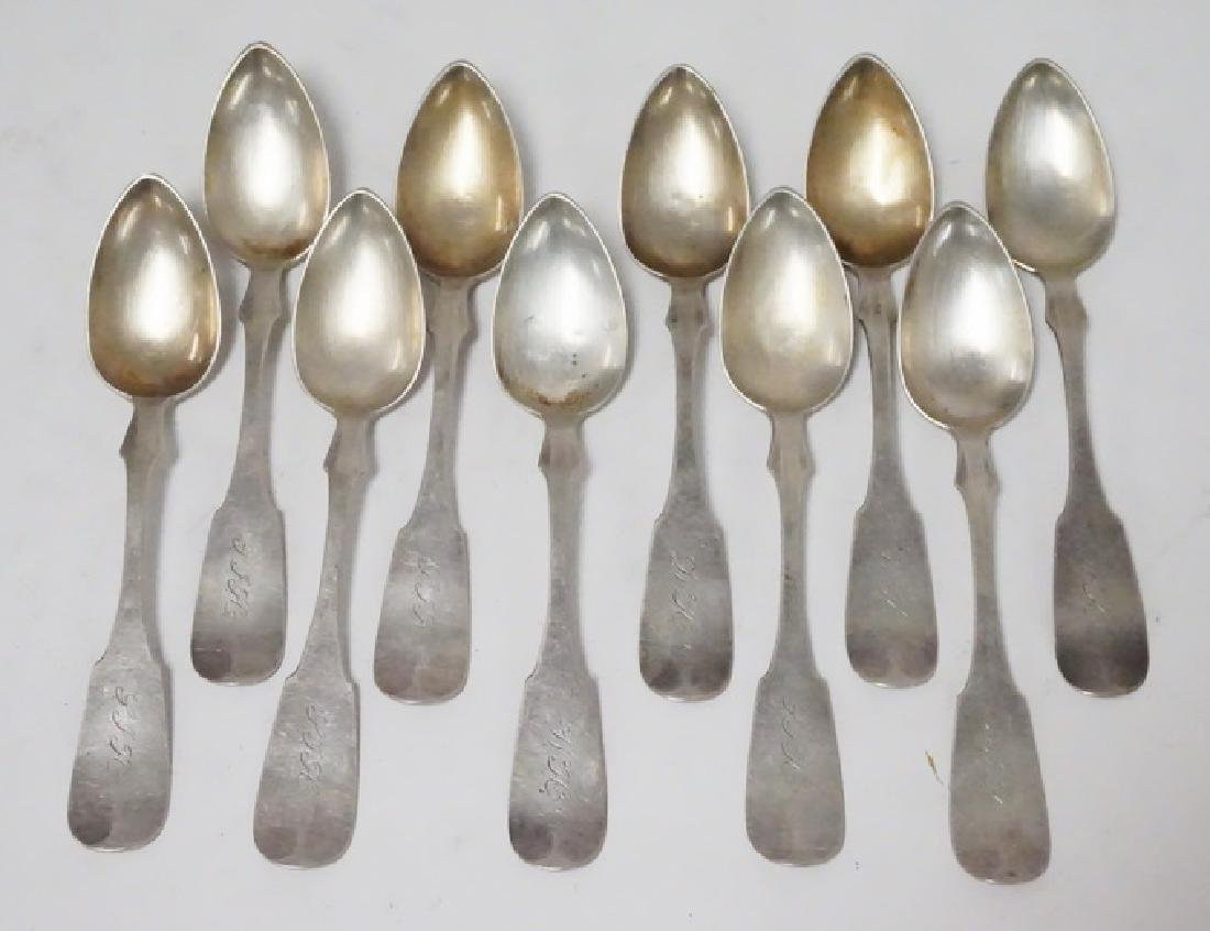 10 ANTIQUE COIN SILVER SPOONS
