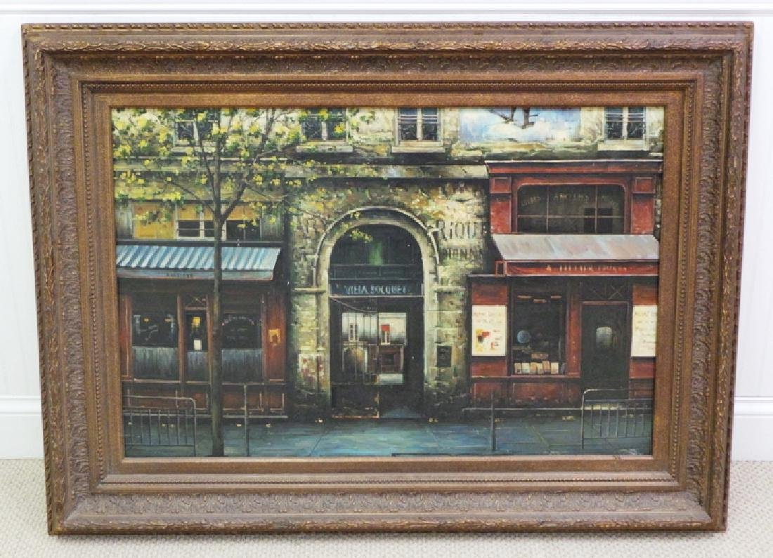 OIL PAINTING ON CANVAS OF A FRENCH STREET SCENE