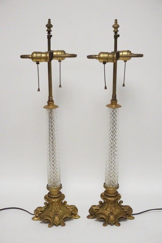 PAIR OF CUT CRYSTAL AND BRONZE LAMPS