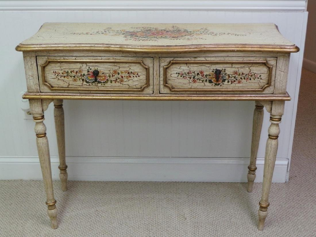 PAINT DECORATED 2 DRAWER CONSOLE TABLE.