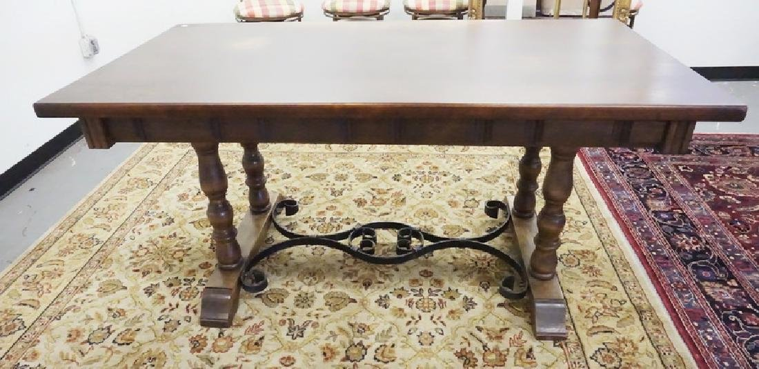 DESK WITH A WROUGHT IRON STRETCHER