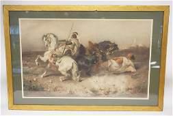 ADOLF SCHREYER LITHO OF AN ARABIAN FIGHTING SCENE