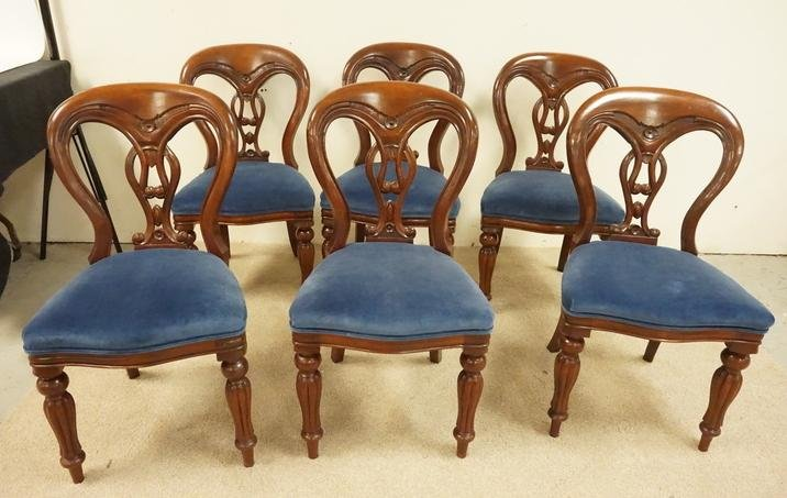 CARVED WALNUT BALLOON BACK CHAIRS
