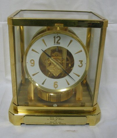 1: BRASS & GLASS LE COULTRE ATMOS CLOCK