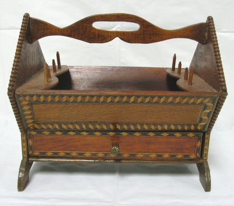 5: INLAID SEWING BASKET; MADE FROM OLD CHEESE BOXES