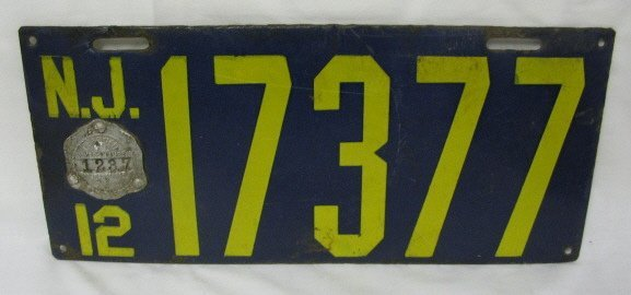 6: 1912 ENAMEL NEW JERSEY LICENSE PLATE