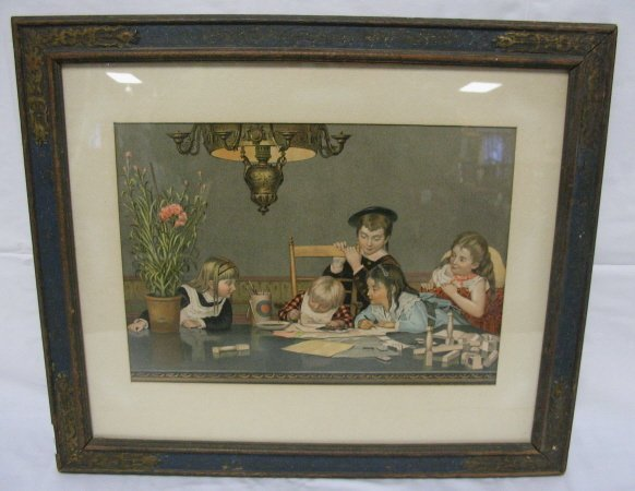 14: FRAMED VICTORIAN PRINT OF CHILDREN PLAYING
