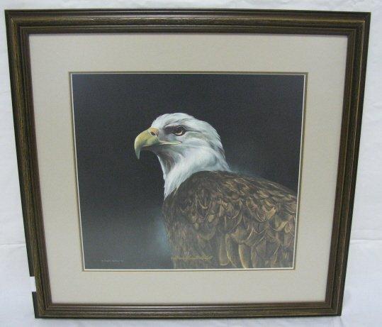 1004: FRAMED LIM ED PRINT OF AN EAGLE HEAD