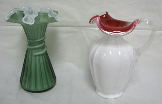 1010: LOT; GREEN CASED RIBBED VASE & RED LINED PITCHER