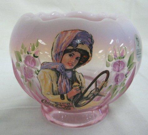 1012: FENTON PINK OPALESCENT COCA COLA GIRLS ROSE BOWL