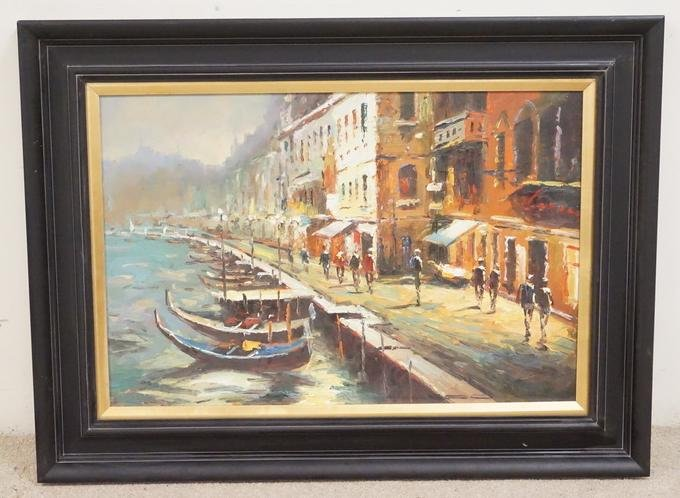 CANAL SCENE OIL PAINTING