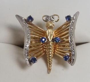 14K GOLD, SAPPHIRE & DIAMOND BUTTERFLY RING
