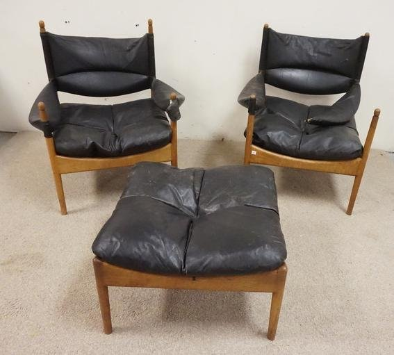 PAIR OF MCM CHAIRS W/ MATCHING OTTOMAN