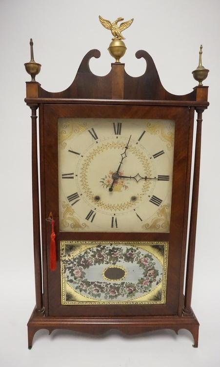 ANTIQUE ELI TERRY PILLAR AND SCROLL CLOCK