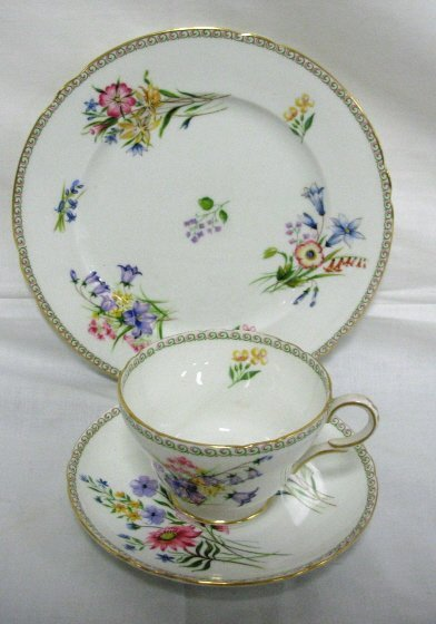19: SHELLEY *WILD FLOWERS* PLATE, CUP & SAUCER