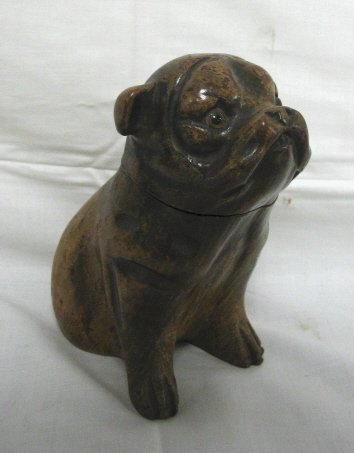23: CARVED WOODEN DOG INKWELL