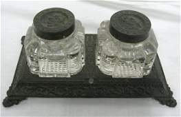 296: CAST IRON VICTORIAN DOUBLE INKWELL