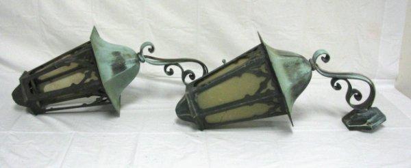 337: PR OF HEXAGONAL COPPER WALL MOUNT PORCH LAMPS